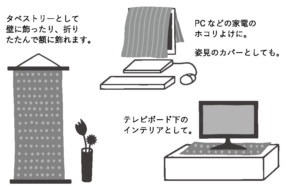 タペストリーとして壁に飾ったり、折りたたんで額に飾れます。 PC などの家電のホコリよけに。 姿見のカバーとしても。 テレビボード下のインテリアとして。