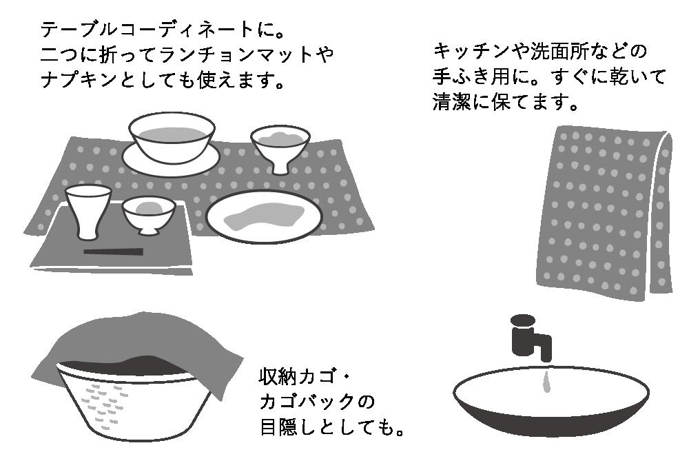 テーブルコーディネートに。二つに折ってランチョンマットやナプキンとしても使えます。 キッチンや洗面所などの手ふき用に。すぐに乾いて清潔に保てます。 収納カゴ・カゴバックの目隠しとしても。