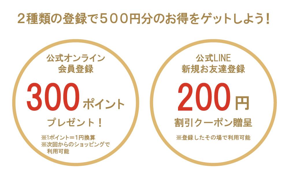 2種類の登録で500円分のお得をゲットしよう