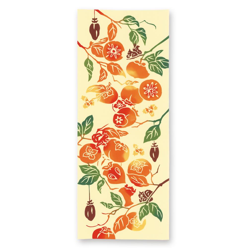 手ぬぐい 甘柿渋柿