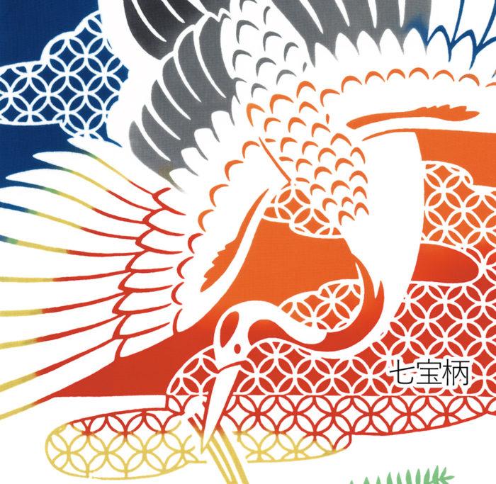 鶴の羽で扇を表し、末広・繁栄を意味します。