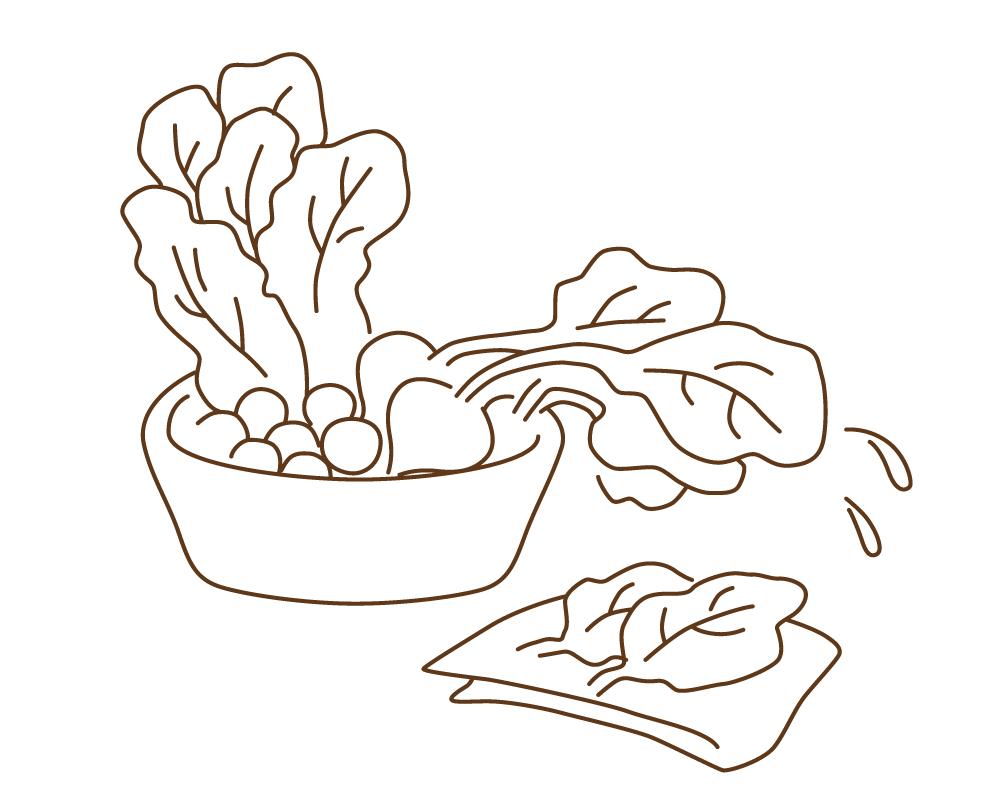 晒木綿(さらしもめん)は、葉もの野菜の水分もしっかり吸収。