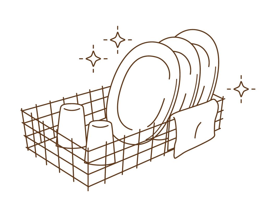 晒木綿(さらしもめん)は、食器の水分もしっかり拭えすぐに乾いて衛生的。